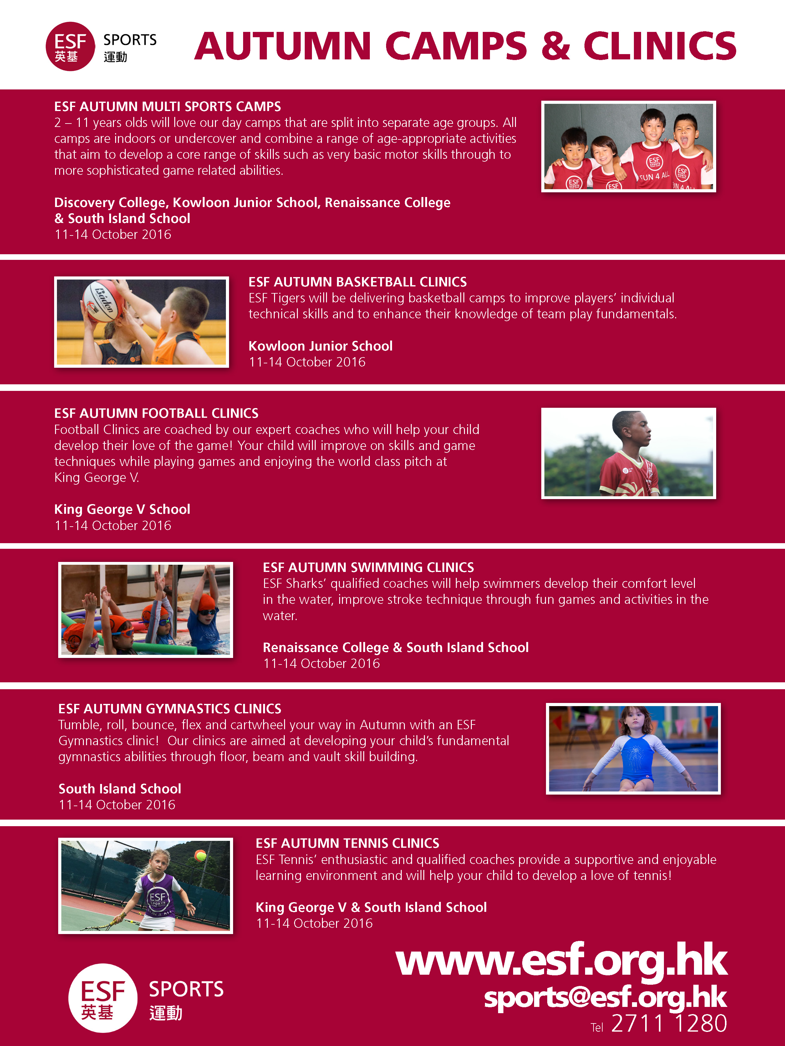 clearwater bay school esf cwbs newsletter friday  multi sports camps autumn newsletter