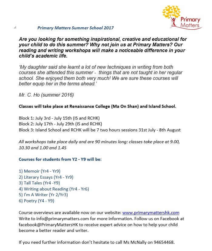 clearwater bay school esf pta newsletter friday  please see attached enrolment form for more details or email ms hong flourhk hotmail com